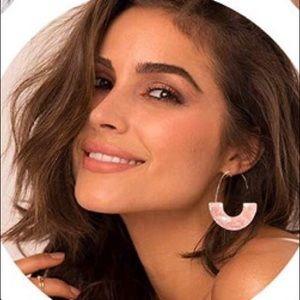Jewelry - Pink acrylic drop hoop earrings
